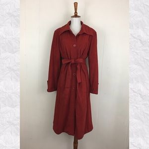 Vintage Faux Suede Look Button Down Belted Trench